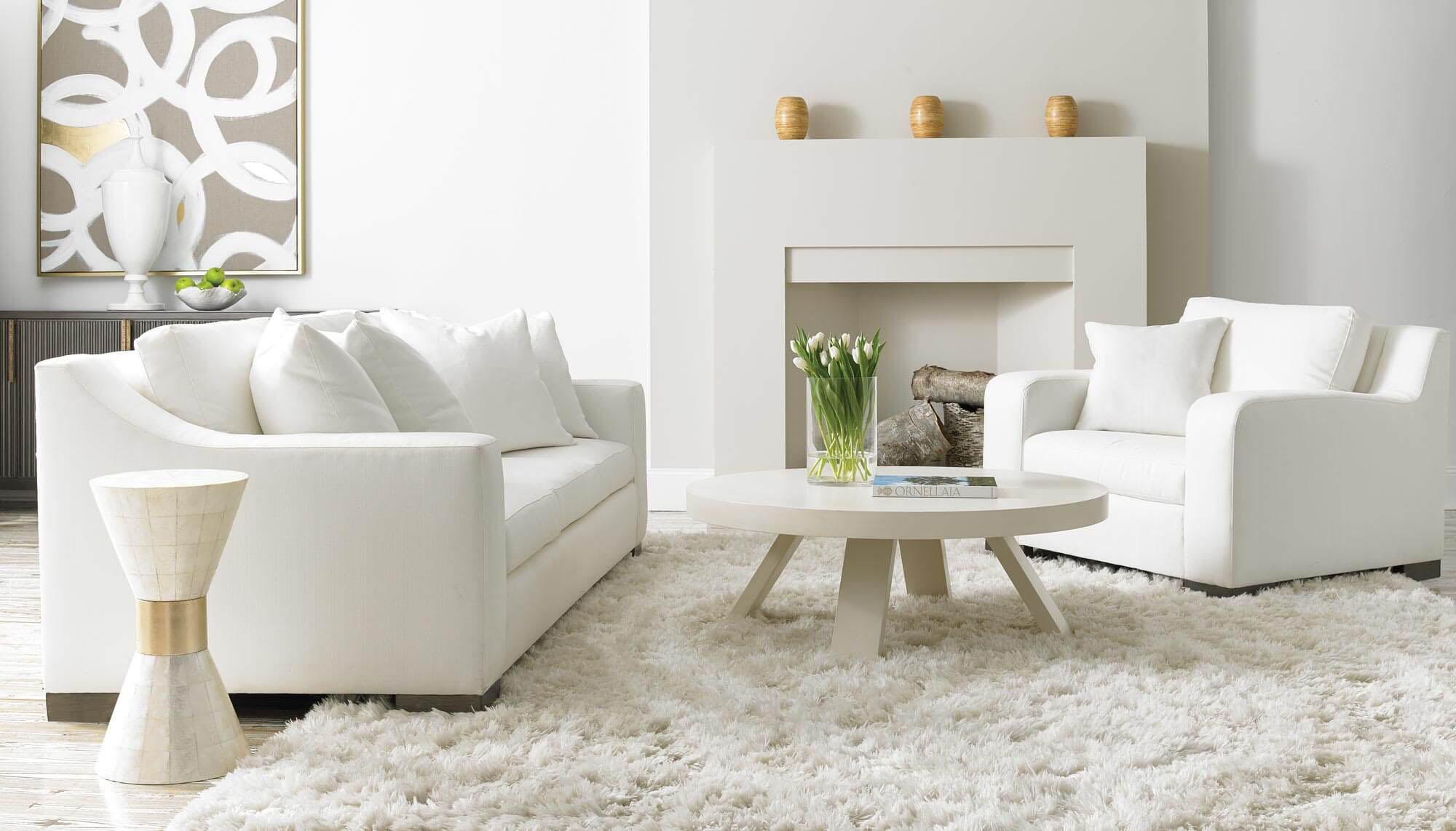 Sherrill white sofa and chair